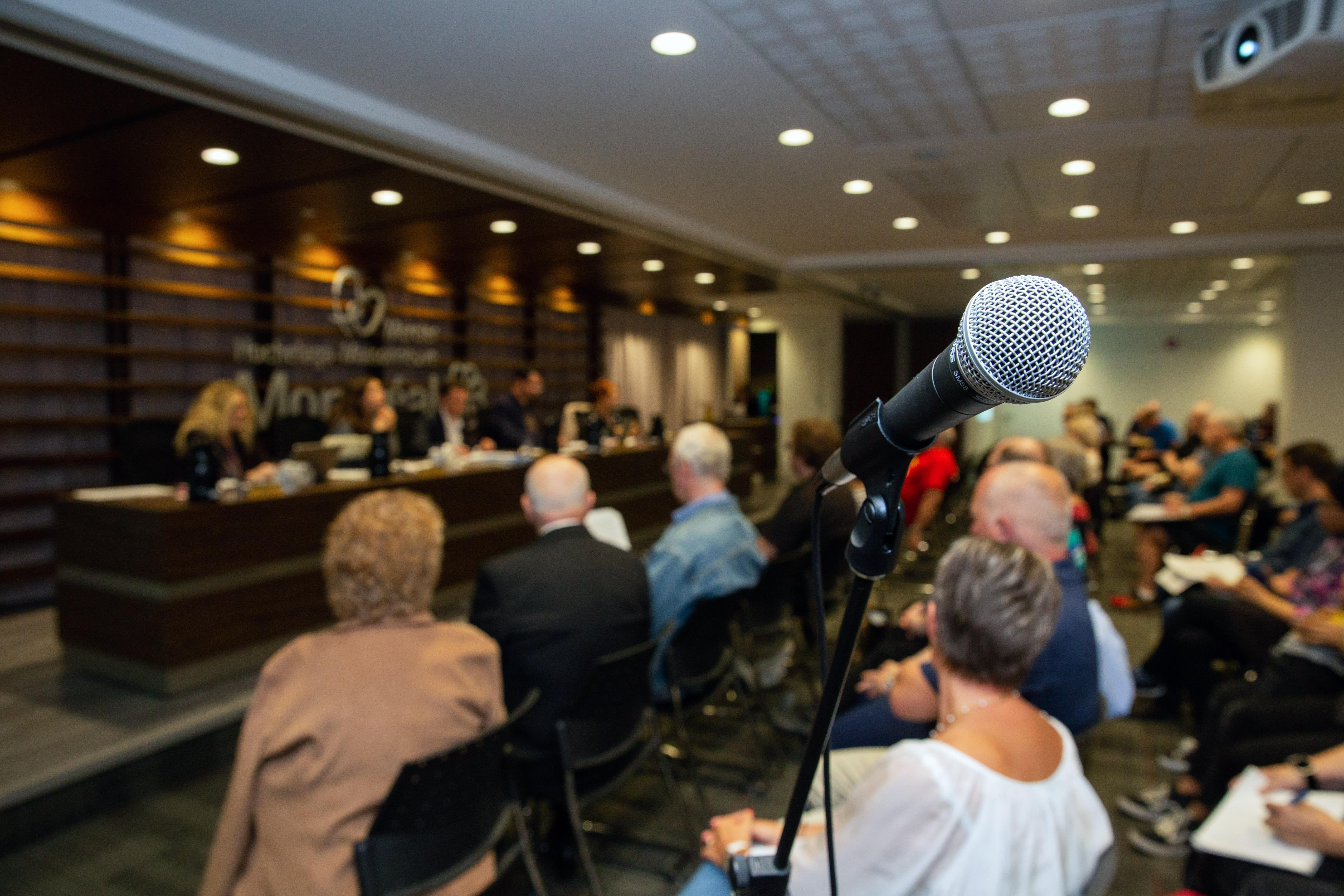 Photo d'un microphone, avec le conseil d'arrondissement en trame de fond