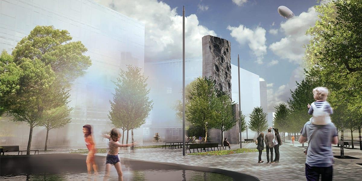 Concept de l'œuvre d'art public de la place centrale du projet MIL Montréal