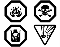 Pictogramme corrosif, pictogramme inflammable, pictogramme toxique et pictogramme explosif.