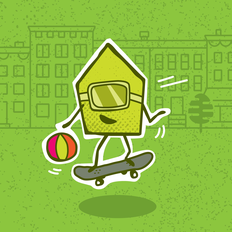 Illustration d'une maison en skatebord