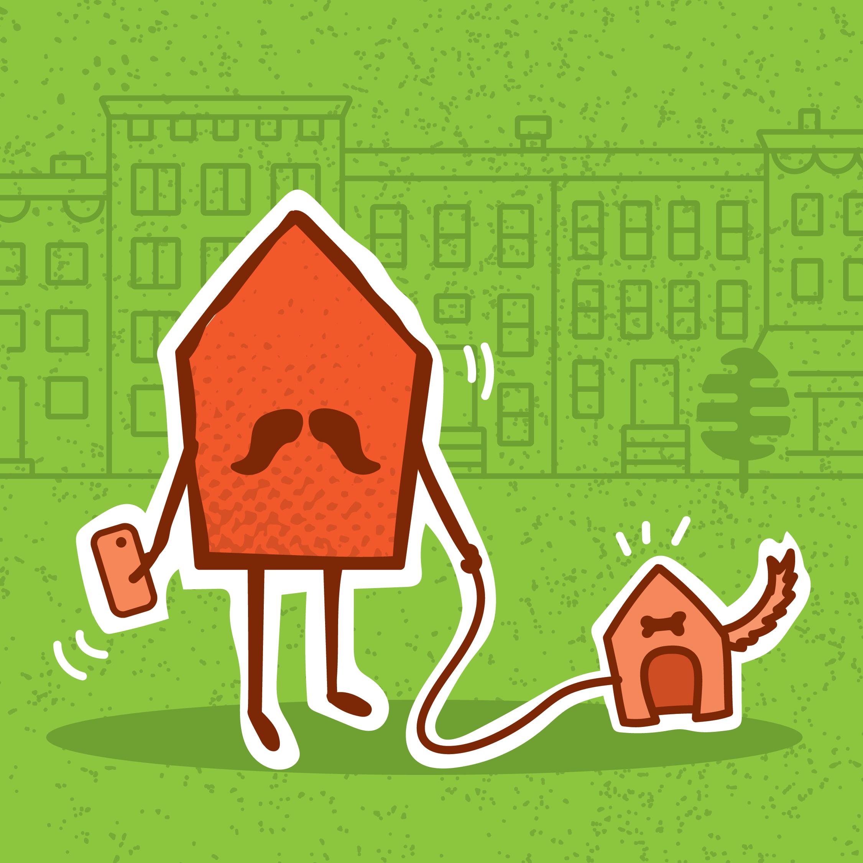 Illustration d'une maison qui promène son chien