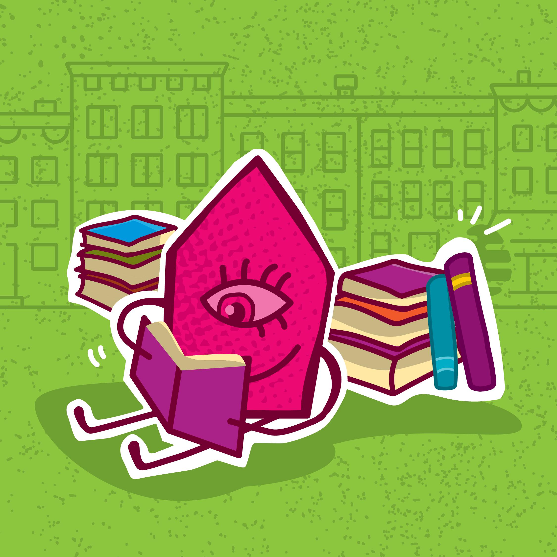 Illustration d'une maison lisant des livres