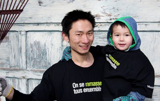 A participant with his son