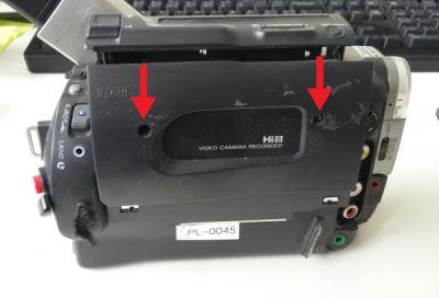 Kassettendeck eines Hi8 Camcorder aufschrauben