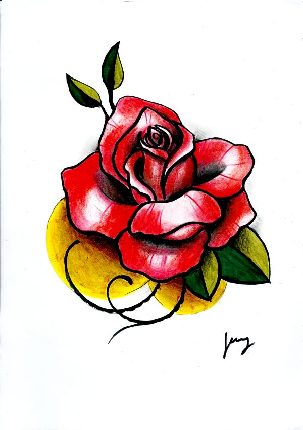 Rose Zeichnung