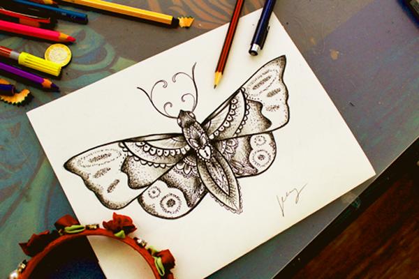 Schmetterling Dotwork Zeichnung