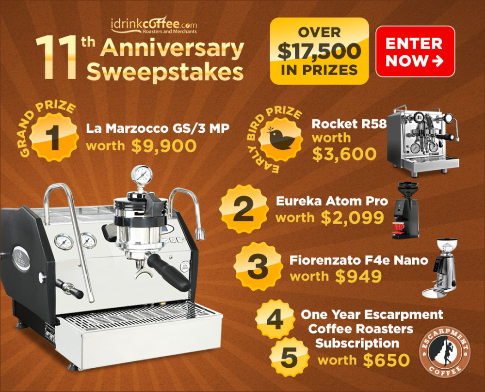 online contests, sweepstakes and giveaways - iDrinkCoffee.com Anniversary Sweepstakes! Enter for a chance to win the Grand Prize of a La Marzocco