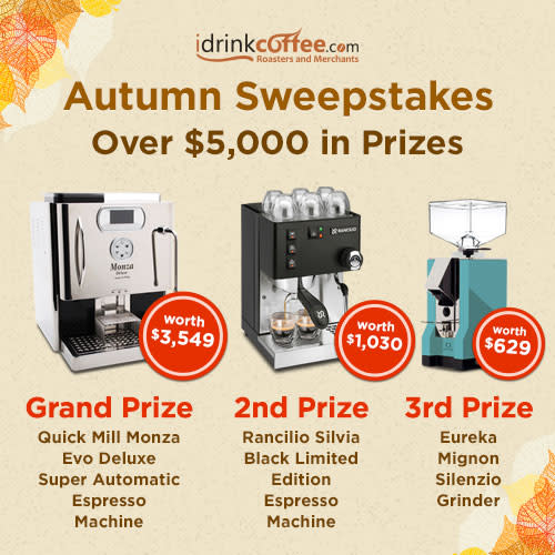 iDrinkCoffee com Autumn Sweepstakes! Enter to win over