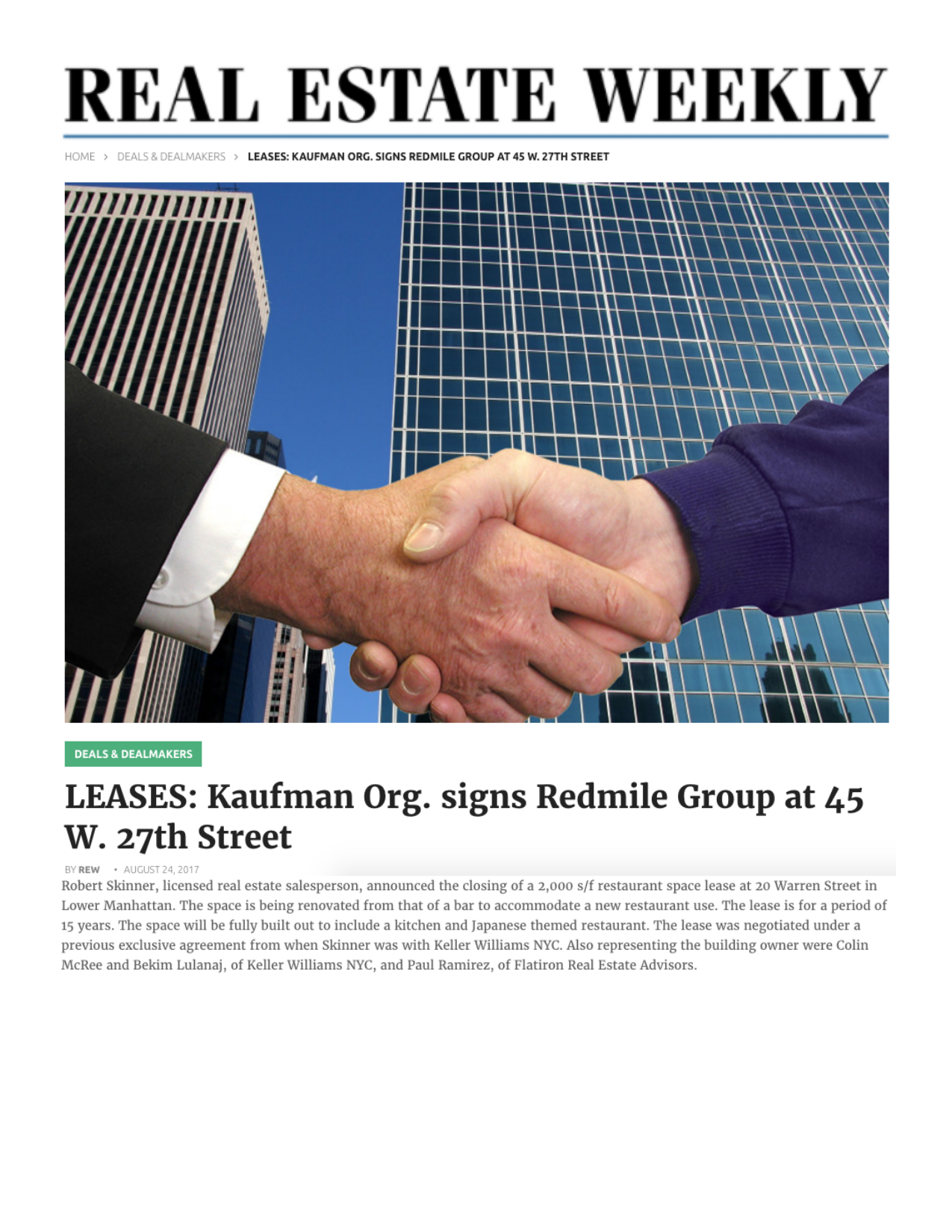 LEASES: Kaufman Org. signs Redmile Group at 45 W. 27th Street