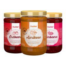 3er Fruchtaufstrich-Kombi Aprikose, Erdbeere, Himbeere (3x220g)