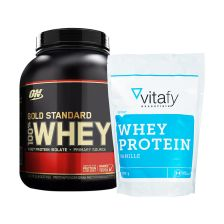 1 x Optimum Nutrition 100% Whey Gold Standard (2273g) + 1 x Vitafy Essentials Whey Protein Essentials (1000g)