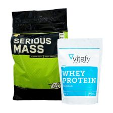 1 x Optimum Nutrition Serious Mass (5454g) + 1 x Vitafy Essentials Whey Protein Essentials (1000g)