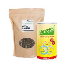 Vitalkost Laktosefrei Pulver Almased (500g) + Vitafy Essentials Chia Samen (1000g)