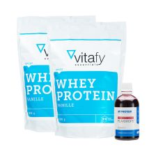 2 x Vitafy Essentials Whey Protein Essentials (2x1000g) + Myprotein Flavdrops (50ml)