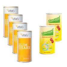 2 x Vitalkostpulver Almased (500g) + 4 x Vitafy Essentials Slim Shake (500g)