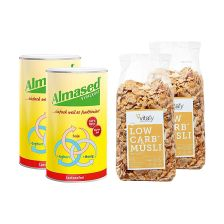 2 x Vitalkost Laktosefrei Pulver Almased (2x500g) + 2 x Vitafy Essentials Low Carb Müesli im Beutel (2x525g)