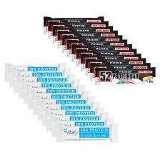 12 x 50% Protein Riegel (12x45g) + 12 x Weider 52% Protein Bar (12x50g)