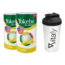 2 x Yokebe Aktivkost Vanille Pulver Lactosefrei (2x500g) + Vitafy Shaker (600ml)