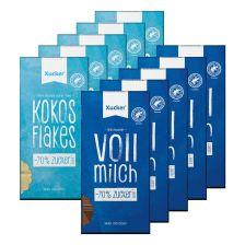 5 x Xylit-Vollmilchschokolade (5x80g) + 5 x Kokos & Flakes Weiße Schokolade (5x80g)