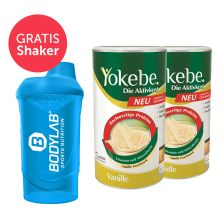 2 x Yokebe Aktivkost Vanille Pulver Lactosefrei (2x500g) + Bodylab 24 Shaker