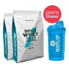 2 x MyProtein Impact Whey Isolate (2x1000g) + GRATIS Bodylab 24 Shaker