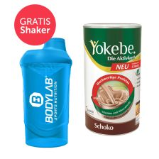 Yokebe Aktivkost Schoko Pulver (500g) + GRATIS Bodylab 24 Shaker