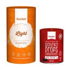 Xucker light europ. Erythrit (1000g) + Schokodrops mit finnischem Xylit, Dose (200g)