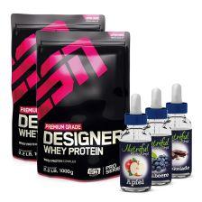 2 x ESN Designer Whey (1000g) + Nutriful Flavor Drops (30ml)