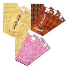 3 x Xylit-Vollmilchschokolade Xukkolade (3 x 100g) + 3 x Weiße Schokolade Crunchy Coconux (3 x 100g) + 3 x Xylit Erdbeer-Joghurt-Schokolade (3 x 100g)