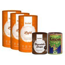 3x Xucker Light + Schokodrops (200g) + Rapunzel Kakaopulver (250g)