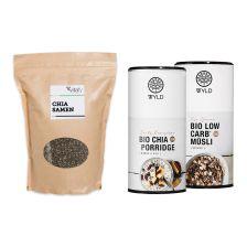 Bio Low Carb* Müsli (575g) + Bio Chia Porridge (450g) + Vitafy Essentials Chia Samen (1000g)