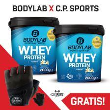2 x 2000g Bodylab24 Whey Protein + 1 x C.P. Sports handschoenen gratis