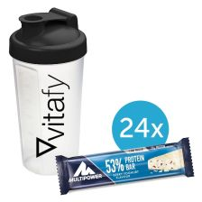53% Protein Bar (24x50g) Vitafy Shaker gratis (600ml)