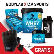 1 x 1000g Whey Protein + Crunchy Protein Bar (12x64g) + Omega 3 TG (120 Kapseln) + BL24 Shaker + gratis Iron-Handschuh Komfort