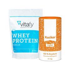 Xucker light europ. Erythrit (1000g)   vitafy essentials Whey Protein (1000g)