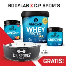 2000g Bodylab24 Whey Protein - Creatine Powder (500g) + Concentrated Pre Workout (375g) + gratis gewichtheffingsriem leder