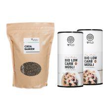 2 x Bio Low Carb Müsli (2x575g) + Vitafy Essentials Chia Samen (1000g)