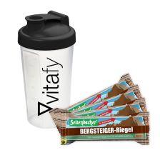 4 x Bergsteiger Riegel (4x50g) + Vitafy Shaker (600ml)