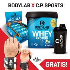 1 x 1000g Whey Protein + Peanut Protein Bar (12x55g) + BL24 Shaker + gratis Handgelenkbandagen