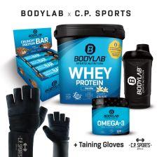 1 x 1000g Whey Protein + Crunchy Protein Bar (12x64g) + Omega 3 TG (120 Kapseln) + BL24 Shaker + professionele handschoenen