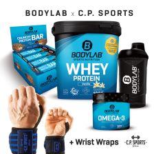 1 x 1000g Whey Protein + Crunchy Protein Bar (12x64g) + Omega 3 TG (120 Kapseln) + BL24 Shaker + profesionele polsverbanden