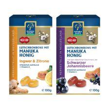Manuka MGO 400+ Lutschbonbons Schwarze Johannisbeere + Ingwer/Zitrone (2x100g)