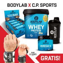 1000g Whey Protein + Crunchy Protein Bar (12x64g) + Omega 3 TG (120 Kapseln) + BL24 Shaker + gratis Handgelenksbandagen