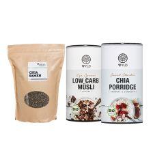 Bio Low Carb* Müesli (350g) + Bio Chia Porridge (350g) + Chia Samen (1000g)