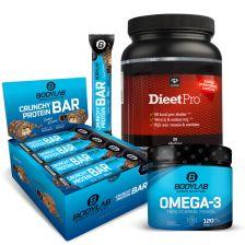 Dieet Pro (500g) met Bodylab24 Crunchy Protein Bar & Omega-3 Kapseln