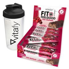 Fit+Feelgood Riegel (15x57g) + Vitafy Shaker (600ml)