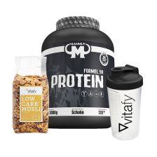 Mammut Formel 90 Protein (3000g) + Vitafy Essentials Shaker (600ml) + Low Carb Müsli im Beutel (525g)