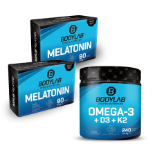 2 x Melatonin (90 Tabletten) + 1 x Omega 3 + D3 + K2 (Omega-3 Triglycerid + Vitamine) (240 Kapseln)