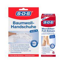 SOS Micro Silber Fußbalsam (75ml) + Baumwollhandschuhe (1 Paar, M)
