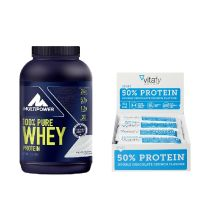 1 x 100% Pure Whey Protein Natural (900g) + 1 x Vitafy Essentials 50% Protein Riegel (12x45g)